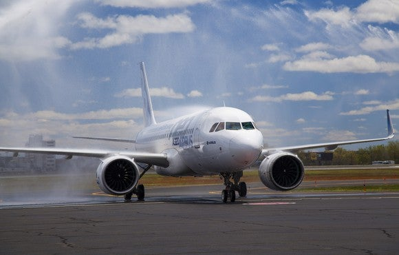 An Airbus A320neo jet, on the tarmac.