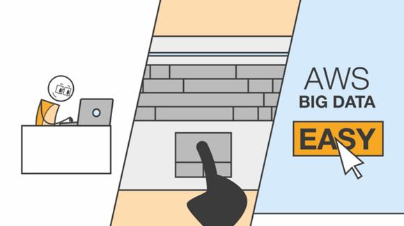 Animated user analyzing enterprise data using Amazon Web Services.