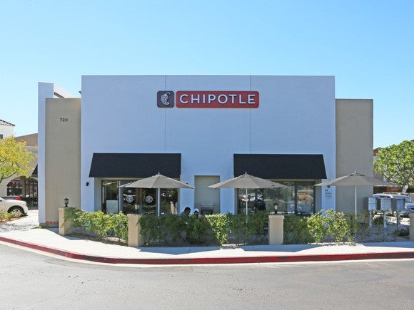 The outside of a Chipotle in California