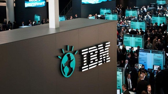 The IBM logo displayed on a wall.