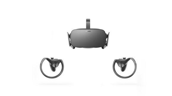 Oculus Rift and Touch on a white background