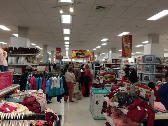 A long checkout line at the Sears store in Arden Fair Mall