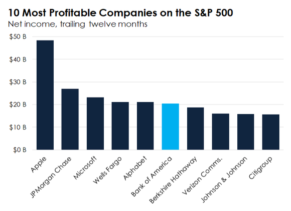 Bar chart showing the 10 most profitable companies on the S&P 500.