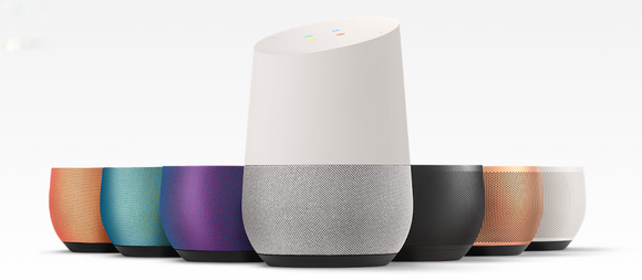 Google Home smart speaker with a variety of color base options.