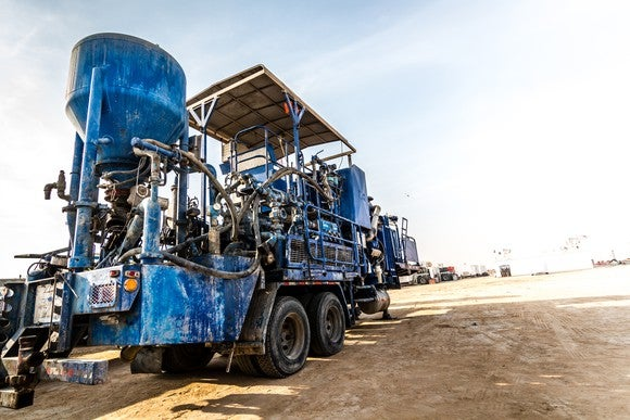 A concrete mixing machine for fracking.