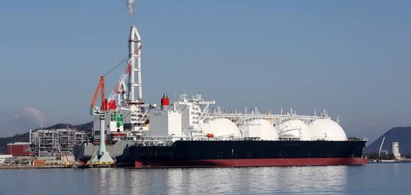 LNG cargo vessel at a port.