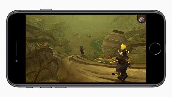 Apple's iPhone 8 running a 3D game.