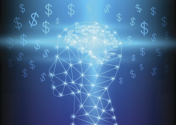 Lighted nodes forming human head with dollar symbols in background
