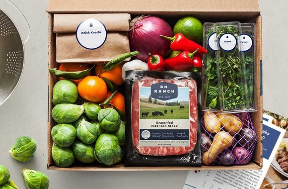 A box of Blue Apron ingredients.