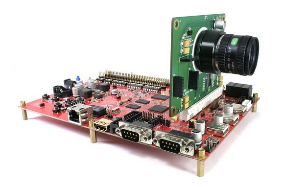 Camera mounted on circuit board.