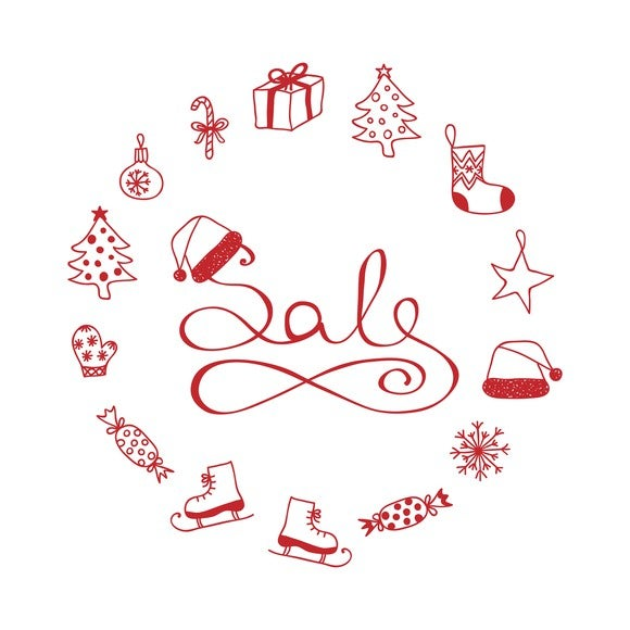 Holiday icons including ornaments, presents, ice skates, and candies surrounding text that says Sale.