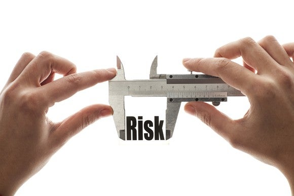 "Hands holding caliper measuring the word ""risk"""
