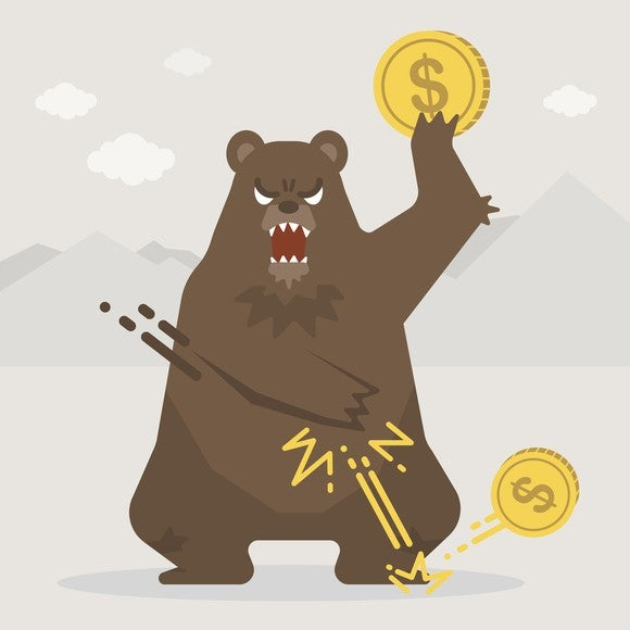 cartoon bear holds a coin and swats another.