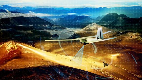 Depiction of unmanned aerial vehicle scanning landscape and navigating.