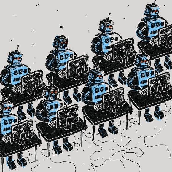 An illustration of robots sitting at desks.