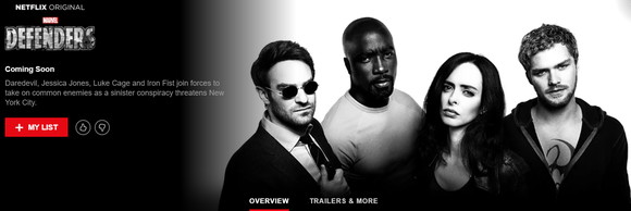 Landing page for Netflix original series Marvel's The Defenders.