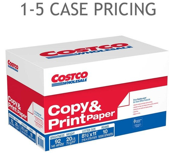Box of copy and print paper with caption about case pricing.