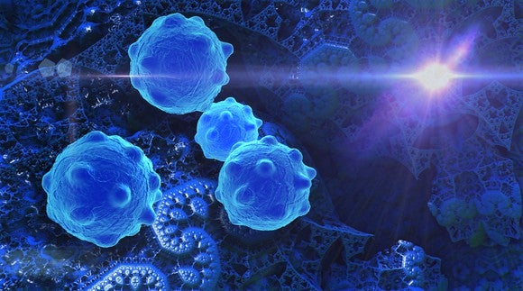 Cancer cells with light shining