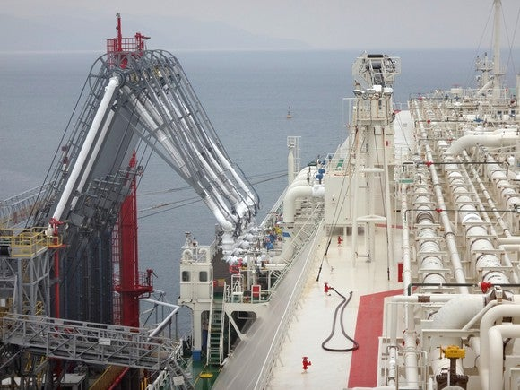 Loading an LNG tanker vessel at a dock