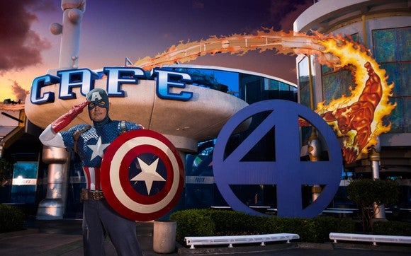 Captain America in a salute outside of the Cafe 4 restaurant.