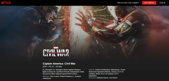 Landing page for Captain America: Civil War on Netflix.