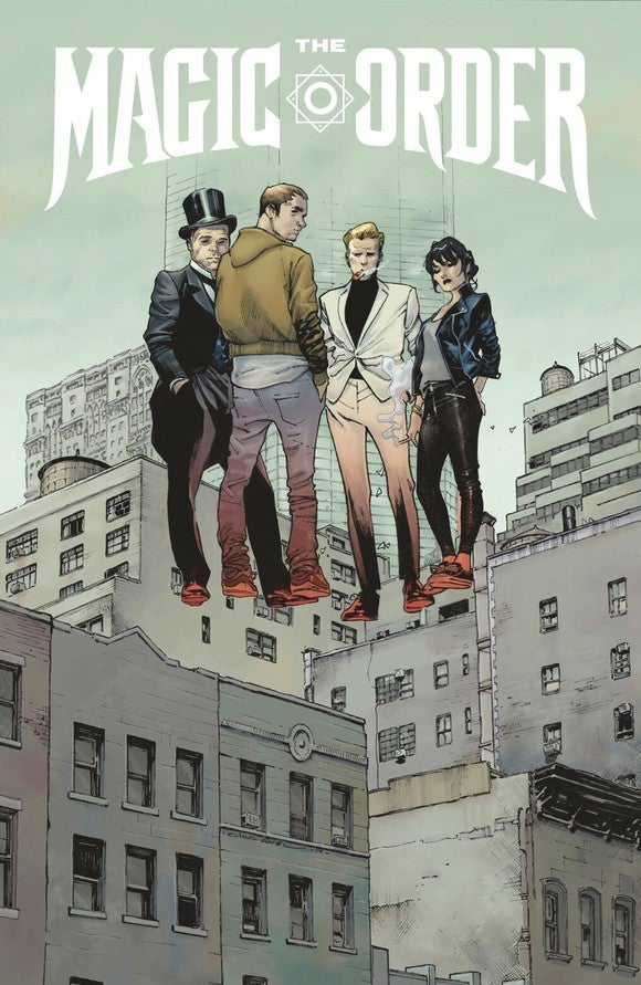 Comic book cover art showing four people in varying styles of dress levitating.