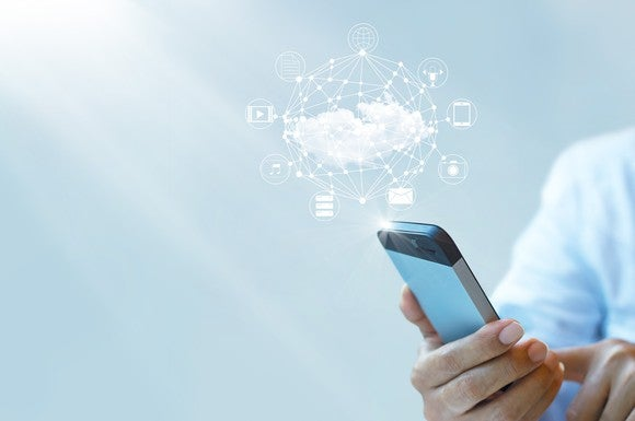 A smartphone connects to cloud computing services.