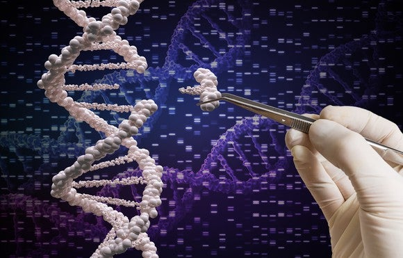 A hand in a surgical glove uses tweezers to insert missing piece in a strand of DNA.
