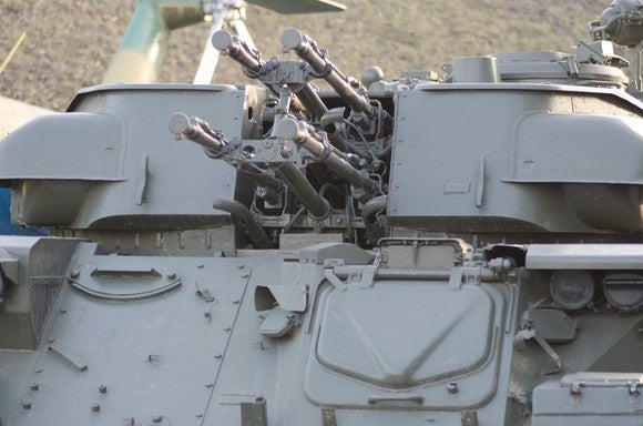 Anti-aircraft guns on an armored vehicle.