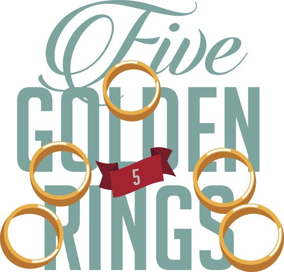 An illustrations shows five golden rings