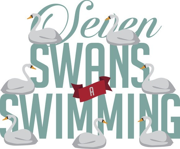An illistration shows seven swans-a swimming