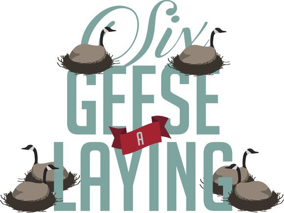An illustration showing six geese-a-laying