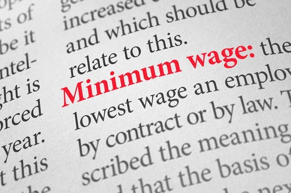 Dictionary definition page with Minimum Wage highlighted in red.