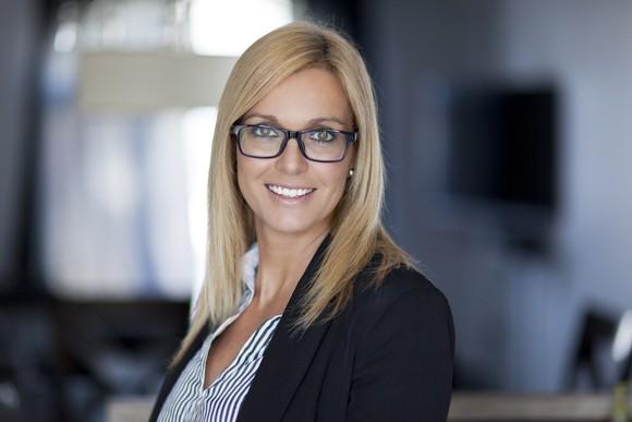 Smiling woman in professional attire