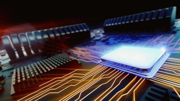 An artist's depiction of a CPU.