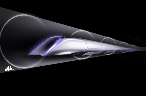 Artist's depiction of a Hyperloop train in clear tunnel