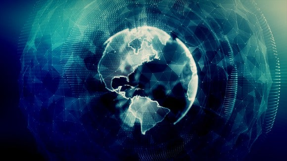 Digital image of a globe blanketed with a cloud data security blanket.