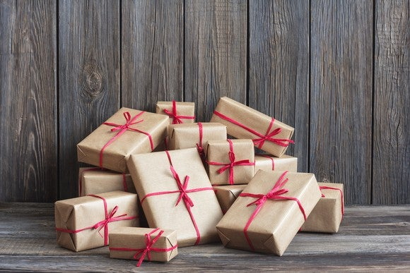 wrapped packages against background of old wooden boards