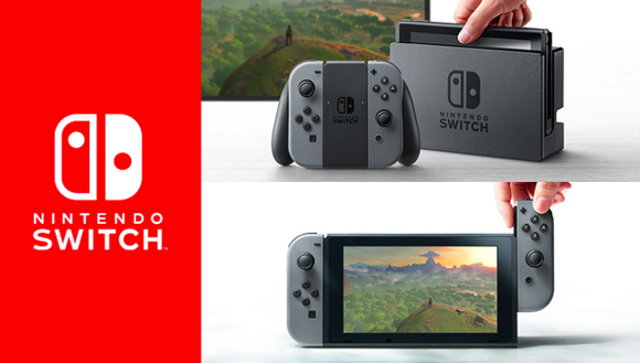 The Nintendo Switch logo in red is shown on the left while the Nintendo Switch device is shown on the right