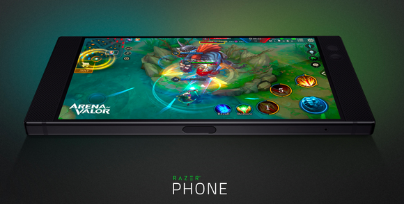 A close up of the Razer phone shown with a game being played on its screen.