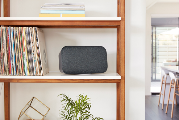 Google Home Max on a bookshelf