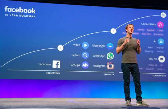 Facebook CEO Mark Zuckerberg onstage at F8 2016 with a screen behind him that features a blue background and a visual of Facebook's different apps and offerings