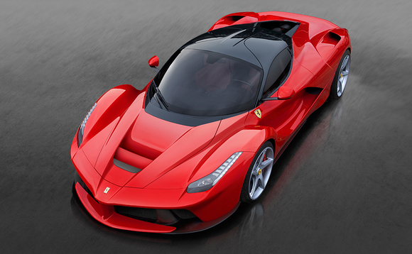 An overhead view of a red LaFerrari.
