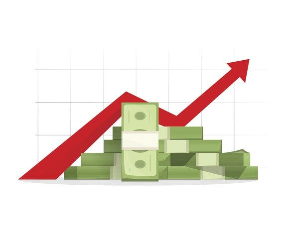 Pile of cash with red rising graph with upward arrow vector illustration.