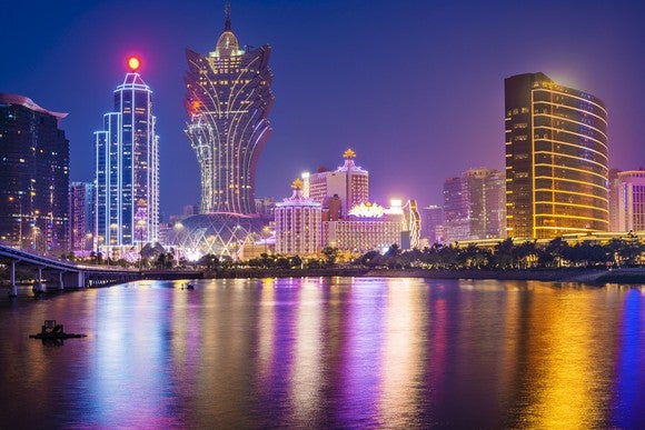 Macau skyline at night, with view of harbor and major casino buildings.