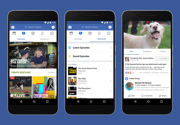 Screen captures of the Facebook Watch platform
