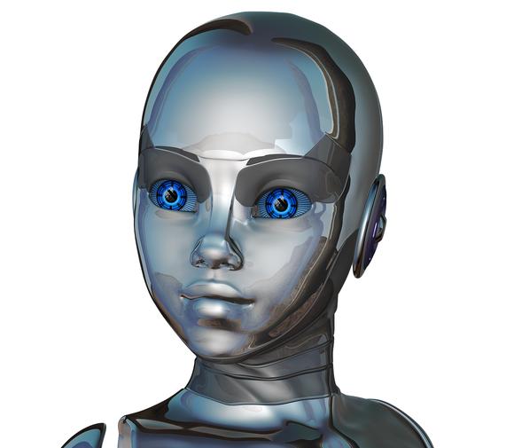 A blue-eyed robot.