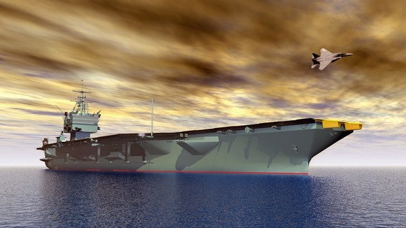 Artist's rendering of an aircraft carrier at sea