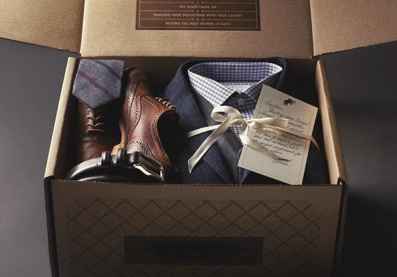 A box of fashion items from Nordstrom's Trunk Club personal stylist service