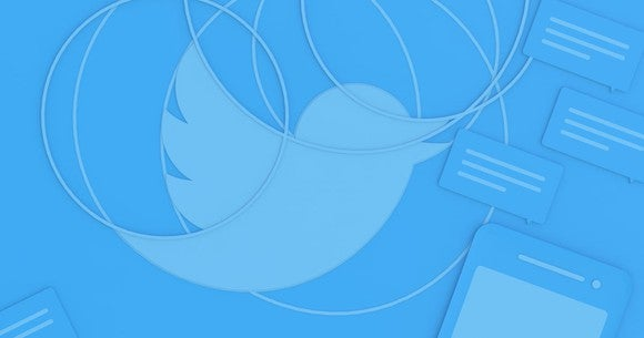 Twitter's signature bird in a blue blog background.